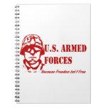 Fuerzas armadas de arma de los E.E.U.U. (rojas) Libretas Espirales