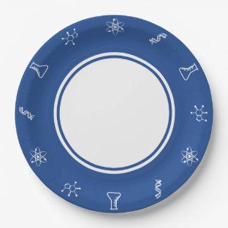 Fuerzas atractivas en placa de papel azul platos de papel
