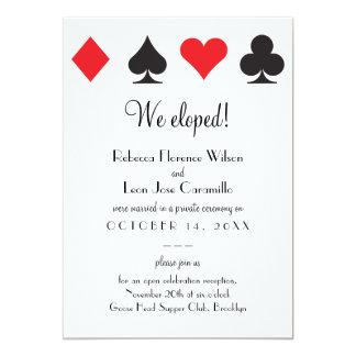 "Fuga clásica negra roja Announcment de Las Vegas Invitación 5"" X 7"""