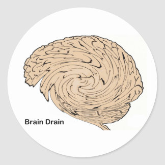 Fuga de cerebros pegatina redonda