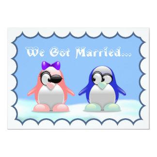 Fuga del pingüino/invitación de la recepción invitación 12,7 x 17,8 cm
