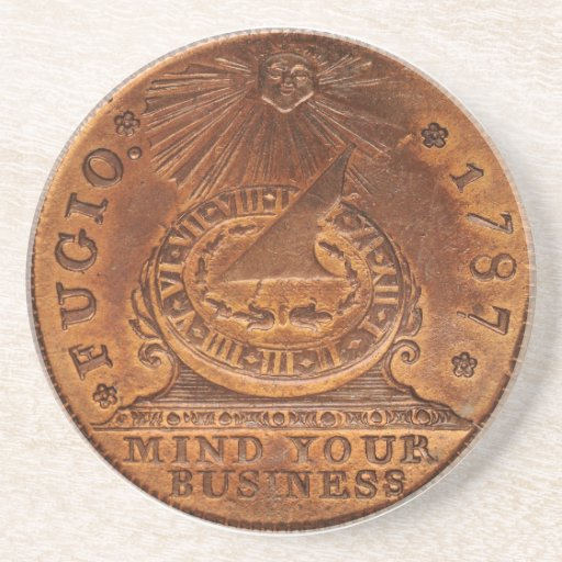Fugio Cent Mind Your Business Copper Penny Drink Coasters