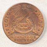 "Fugio Cent Mind Your Business Copper Penny Drink Coaster<br><div class=""desc"">On April 21, 1787, the Continental Congress of the United States authorized a design for an official copper penny, later referred to as the Fugio cent because of its image of the sun shining down on a sundial with the caption, &quot;Fugio&quot; (Latin: I flee/fly). This coin was reportedly designed by...</div>"