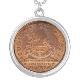 Fugio Cent Mind Your Business Copper Penny Silver Plated Necklace