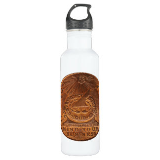 Fugio Cent Mind Your Business Copper Penny Stainless Steel Water Bottle