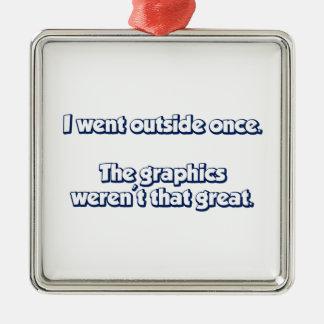 Fui exterior una vez.  Los gráficos no eran Adorno Navideño Cuadrado De Metal