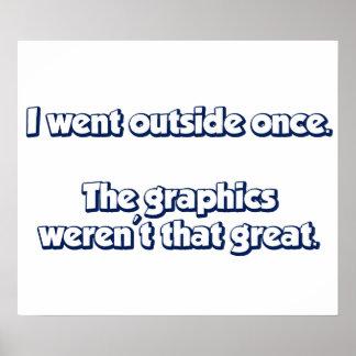 Fui exterior una vez.  Los gráficos no eran grande Póster