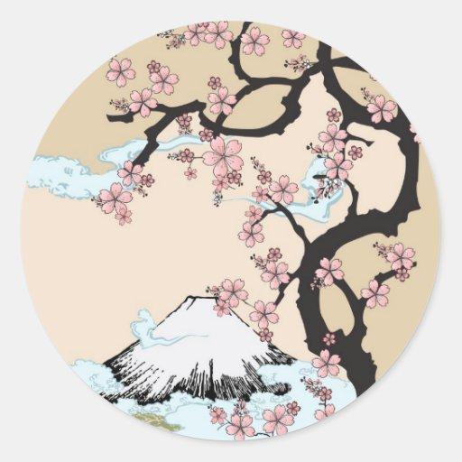 Fuji and Sakura Round Sticker
