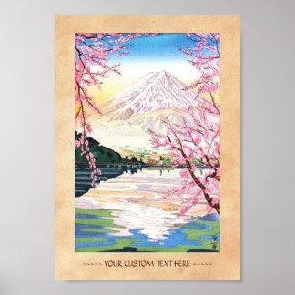 Fuji del hanga Japón de la espinilla de Kawaguchi Poster