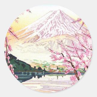 Fuji del hanga Japón de la espinilla de Kawaguchi Pegatina Redonda