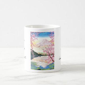 Fuji del hanga Japón de la espinilla de Kawaguchi  Tazas