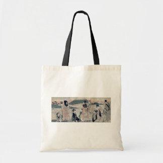 Fuji, halcones, y berenjenas por Kitagawa, Utamaro Bolsas De Mano