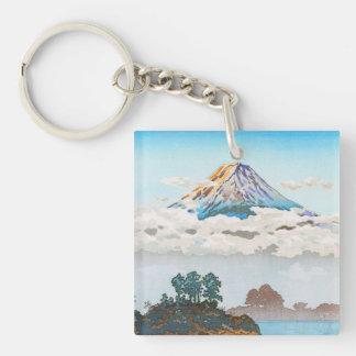 Fuji in clouds,  Koushu Lake Kawaguchi Japan Keychain