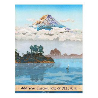 Fuji in clouds,  Koushu Lake Kawaguchi Japan Postcard