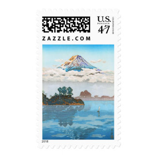 Fuji in clouds,  Koushu Lake Kawaguchi Japan Stamp