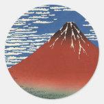 Fuji rojo de Katsushika Hokusai Etiqueta Redonda
