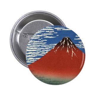 Fuji rojo de Katsushika Hokusai Pin Redondo De 2 Pulgadas