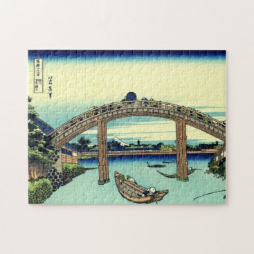Beach Themed Fuji seen through the Mannen Bridge at Fukagawa Jigsaw Puzzle