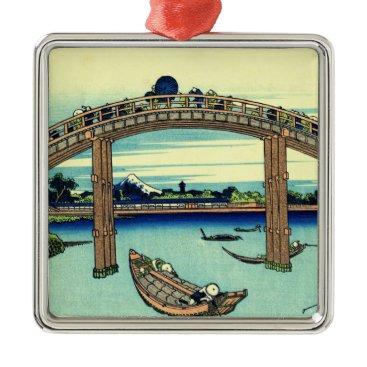 Beach Themed Fuji seen through the Mannen Bridge at Fukagawa Metal Ornament
