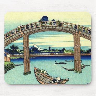 Beach Themed Fuji seen through the Mannen Bridge at Fukagawa Mouse Pad