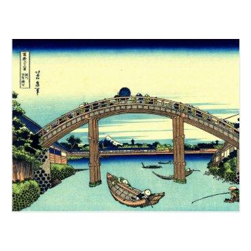 Beach Themed Fuji seen through the Mannen Bridge at Fukagawa Postcard