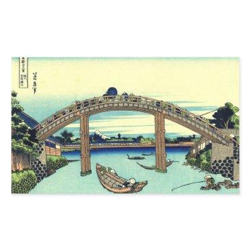 Beach Themed Fuji seen through the Mannen Bridge at Fukagawa Rectangular Sticker