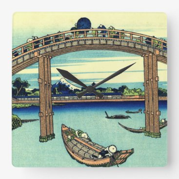 Beach Themed Fuji seen through the Mannen Bridge at Fukagawa Square Wall Clock