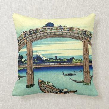 Beach Themed Fuji seen through the Mannen Bridge at Fukagawa Throw Pillow