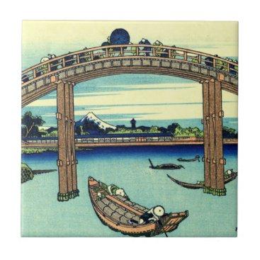 Beach Themed Fuji seen through the Mannen Bridge at Fukagawa Tile
