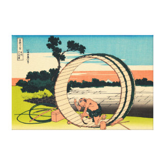 Fuji viewed from rice fields in Owari Province Stretched Canvas Print