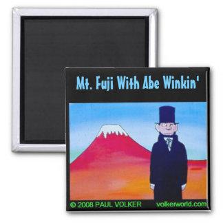 Fuji w/ Abe Winkin' 3.00 2 Inch Square Magnet