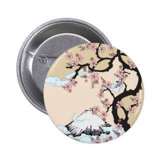 Fuji y botón de Sakura Pin Redondo De 2 Pulgadas