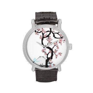 Fuji y Sakura: Reloj de la correa de cuero del