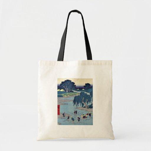Fujieda por Ando, Hiroshige Ukiyoe Bolsa Tela Barata