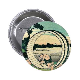 Fujimigahara de Bishu por Katsushika, Hokusai Pin Redondo De 2 Pulgadas