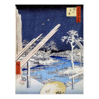 Fukagawa kiba, Ando Hiroshige Postcard