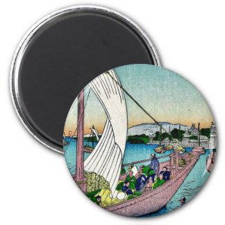 Fukeiga by Ando, Hiroshige Ukiyoe 2 Inch Round Magnet