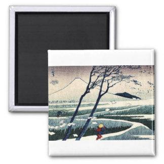 Fukeiga by Katsushika, Hokusai Ukiyoe 2 Inch Square Magnet