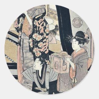 Fukubiki by Kitagawa, Utamaro Ukiyoe Classic Round Sticker