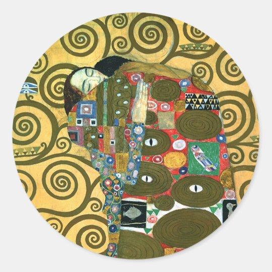 Fulfillment aka The Embrace by Gustav Klimt Classic Round Sticker