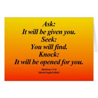 Fulfillment Matthew 7:7-8 Abbrev Greeting Cards