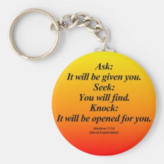 Fulfillment Matthew 7:7-8 Abbrev Key Chains