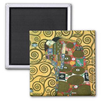 Fulfillment (The Embrace) by Gustav Klimt 2 Inch Square Magnet