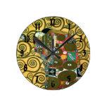 Fulfillment (The Embrace) by Gustav Klimt Round Clock