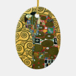 Fulfillment (The Embrace) by Gustav Klimt Double-Sided Oval Ceramic Christmas Ornament