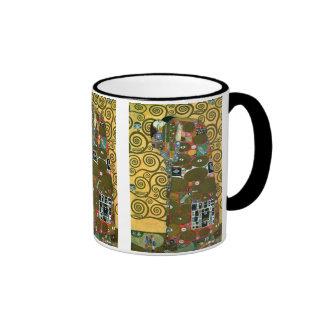 Fulfillment (The Embrace) by Gustav Klimt Ringer Coffee Mug