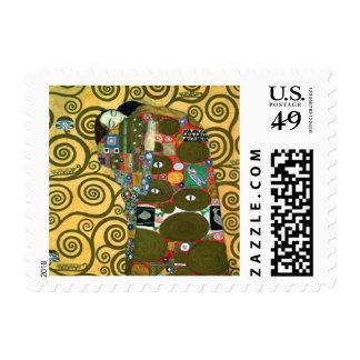 Fulfillment (The Embrace) by Gustav Klimt Stamp