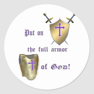 Full Armor of God Classic Round Sticker