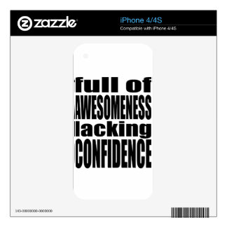 full awesomeness lacking confidence black motivati skins for iPhone 4S
