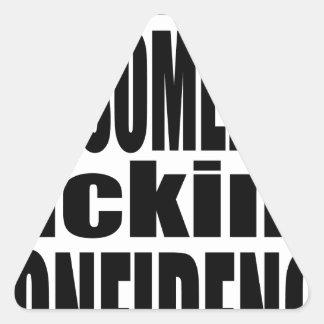 full awesomeness lacking confidence black motivati triangle sticker